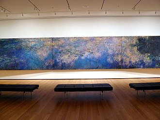 Water Lilies (Monet series) - Claude Monet, Reflections of Clouds on the Water-Lily Pond, c. 1920, 200 × 1276 cm (78.74 × 502.36 in), oil on canvas, Museum of Modern Art, New York City