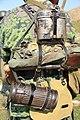 WW2 Gernika Battalion German troops Pointe de Grave April 1945 (reenactment by Sancho de Beurko Association and EnigmaAirSoft1945 group in Punta Lucero 2014-06-15) Wehrmacht uniform personal equipment Hornidura.jpg