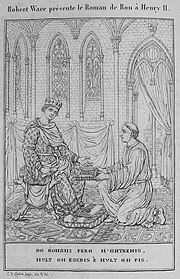 Wace presents his Roman de Rou to Henry II in this illustration from 1824