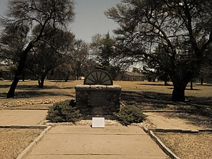Petrus Steyn - The Wagon Wheel Monument including tracks of Voortrekker Leader Sarel Cilliers