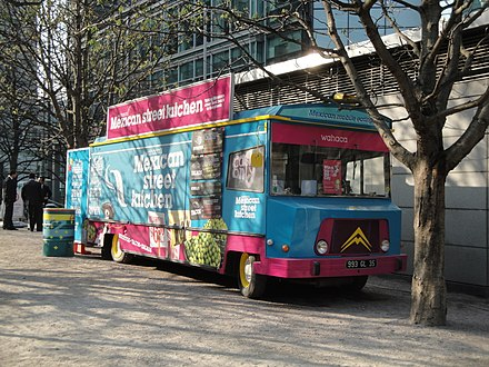 Wahaca mobile street kitchen, 2012 Wahaca's Mexican Street Kitchen at Canary Wharf.JPG