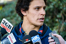 Description de l'image Wallaby Matt Toomua speaks to the media in Sydney 2014.jpg.