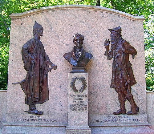 The Washington Irving Memorial on North Broadway in Irvington, not far from Irving's home, Sunnyside Washington Irving Memorial Irvington.jpg
