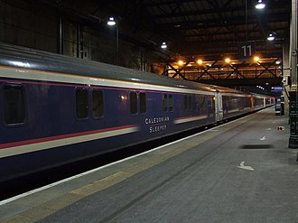 Caledonian Sleeper - First ScotRail liveried Mark 3 at Edinburgh Waverley in February 2009