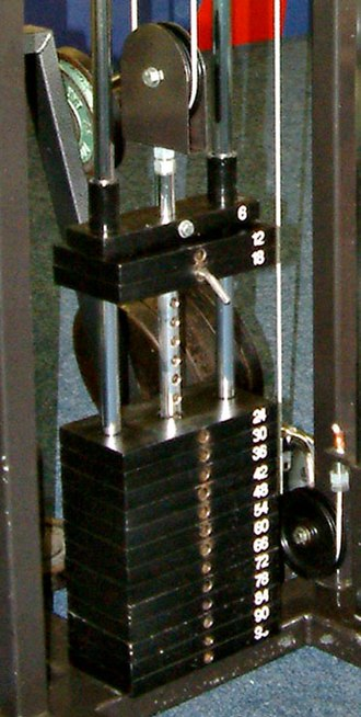 Weight training - The weight stack from a cable machine.