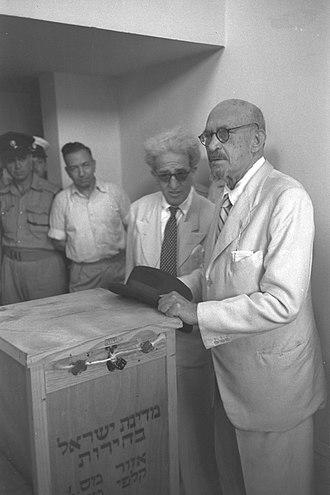 Israeli legislative election, 1951 - President Chaim Weizmann votes
