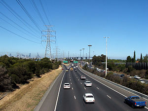 West Gate Freeway - West Gate Freeway citybound before the Williamstown Road interchange.