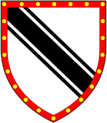 Arms of Westcott: Argent, a bend cotised sable a bordure gules bezantee WestcottArms.png