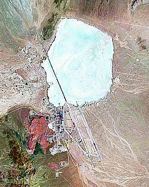 Area 51 - A satellite image, taken in 2000, shows dry Groom Lake just north-northeast of the site.