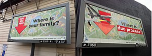 Subvertising - Two billboards with the same original content; the billboard on the right is an example of subvertising after being vandalized.