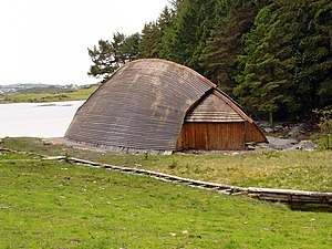 Ivar of Limerick - Reconstruction of a Norse boathouse. These were typically constructed on land, not over any water, at this time, the ships hauled into them. Limerick would have featured hundreds for various craft.