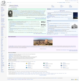 Main page of the English Wikipedia