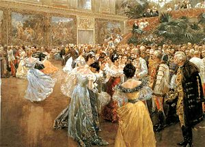 First dance - Aristocrats gathering around Emperor Franz Joseph at a ball in the Hofburg Imperial Palace, painting by Wilhelm Gause (1900)