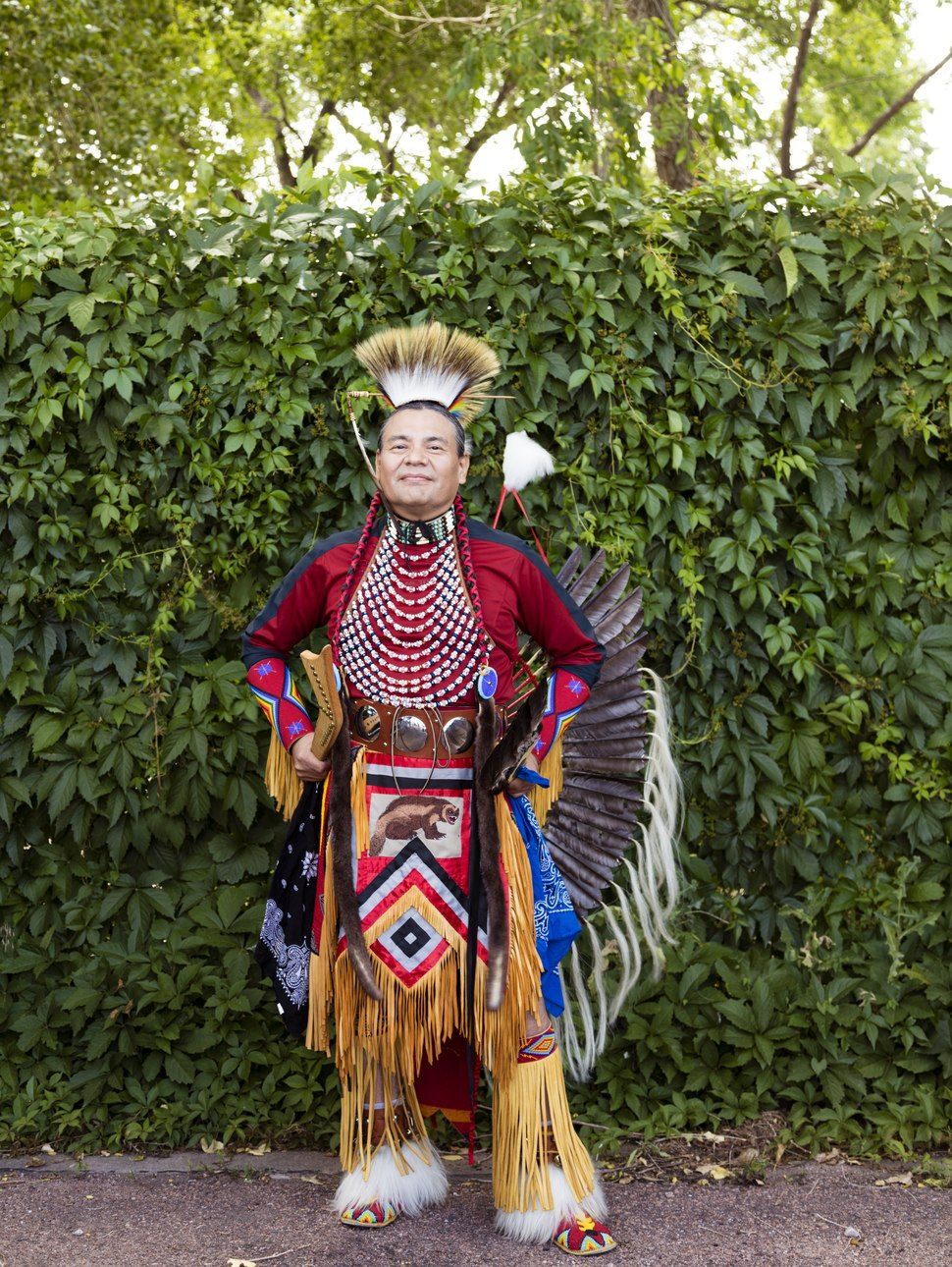 Will Yaska of Pueblo, Colorado, a Koyukon (an Alaska Native Athabaskan people), was among the participants at a Colorado Springs Native American Inter-Tribal Powwow and festival in that central LCCN2015633372