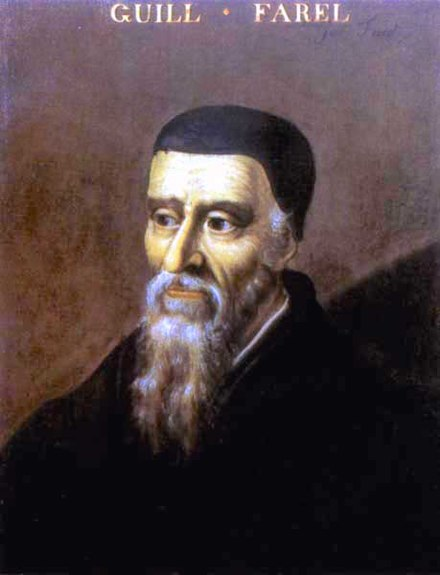 William Farel was the reformer who convinced Calvin to stay in Geneva. 16th-century painting. In the Bibliotheque Publique et Universitaire, Geneva. William-Farel.jpg