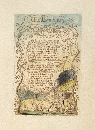 "The Lamb - Songs of Innocence and of Experience, copy C, 1789, 1794 (Library of Congress), object 8, ""The Lamb"" currently held at the Library of Congress"