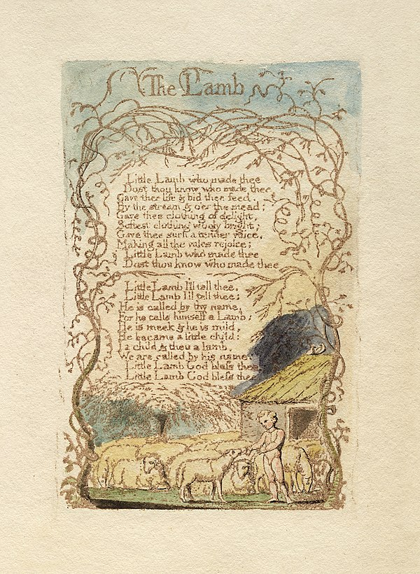 the innocence of lamb in songs of Piping songs of pleasant glee, on a cloud i saw a child, and he laughing said to me:  blake: songs of innocence & experience the lamb the little black boy.