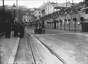 1929 Monaco Grand Prix - Winner William Grover-Williams crossing the finish line