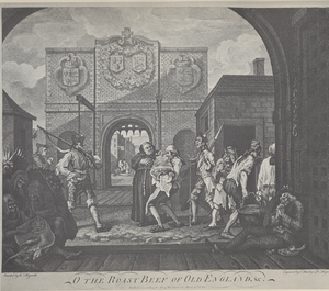 The Gate of Calais - The engraving of the print. The hand on Hogarth's shoulder can now be clearly seen, as can the Scotsman and his fare