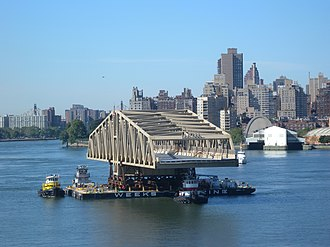Willis Avenue Bridge - Replacement bridge sails up East River, July 2010