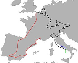Map of Europe showing journey routes