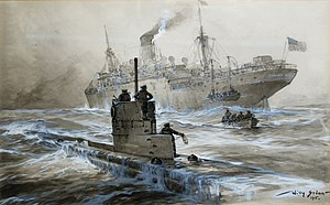 U-boat - Sinking of the Linda Blanche out of Liverpool by Willy Stöwer