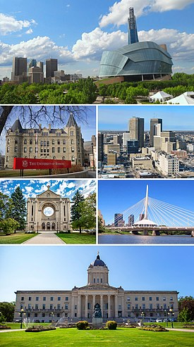 From top, left to right: Winnipeg panorama featuring the Canadian Museum for Human Rights, Wesley Hall at the University of Winnipeg, Downtown Winnipeg, Saint Boniface Cathedral, Esplanade Riel bridge and the Manitoba Legislative Building