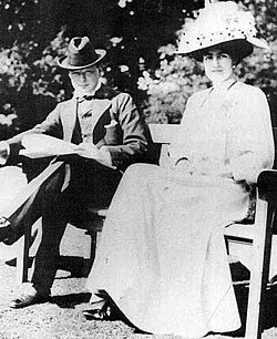 A young Winston Churchill and fiancée Clementine Hozier shortly before their marriage in 1908.