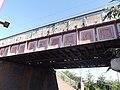 Witton Station - railway bridge - claret and blue (7951049434).jpg
