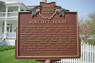 Hull–Wolcott House - A sign describing the site.