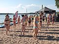 Women in bikinis at an aerobics class at Hietaniemi beach.jpg
