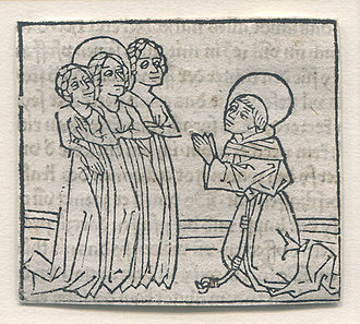 Günther Zainer - Early woodcut print of a saint kneeling before three women by Zainer, circa 1473.