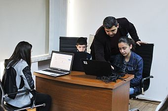 Workshop at Wikimedia Armenia office for Yerevan 135 school students. (4).jpg