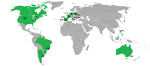 World Youth Day - Map of World Youth Day locations. Countries that have hosted at least one WYD are shaded green.