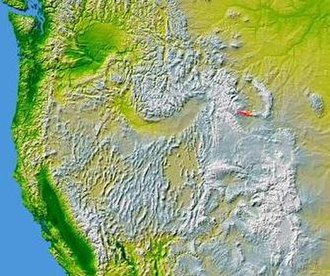 Owl Creek Mountains - The Owl Creek Mountains in Wyoming are shown highlighted on a map of the western United States