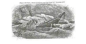 USS Huron (1875) - 1881 engraving of the wreck of the USS Huron.