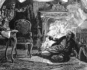 Stanisław Leszczyński - The fireplace incident, drawing by Ksawery Pilati from the 19th century
