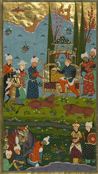 Bahram V - Bahram V seizes the crown after having killed two lions.