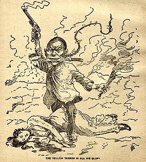 Yellow Peril - The Yellow Terror in all His Glory (1899) is a rebellious Qing Dynasty Chinese man, armed to the teeth, who stands astride a fallen white woman representing Western European colonialism