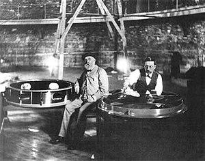 Alvan Graham Clark - Alvan Clark and his assistant Carl Lundin (right) alongside the 40-inch lens, 1896