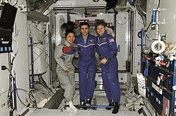 Soyeon Yi with NASA astronaut Peggy Whitson (right), Expedition 16 commander, and Russian Federal Space Agency cosmonaut Yuri Malenchenko (middle), flight engineer, at the International Space Station in April 2008.