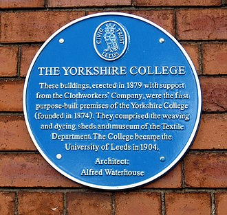 Yorkshire College blue plaque 1879 Yorkshire College blue plaque 1879.jpg