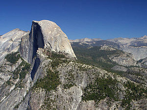 Granite dome - Half Dome, a granite monolith in Yosemite National Park and part of the Sierra Nevada Batholith.