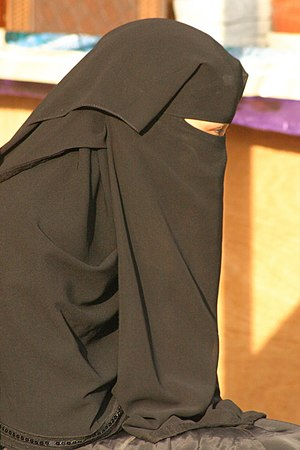 Women's rights in Saudi Arabia - A Saudi woman wearing a traditional niqab.