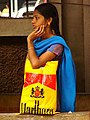 Young Woman at Bus Stop - Mangalore - India.JPG