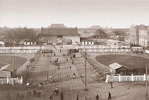 Imperial City, Beijing - The Gate of China, formerly the formal gateway to the Imperial City. This view is from the Zhengyangmen. Behind the Gate of China is Tiananmen and the Forbidden City.