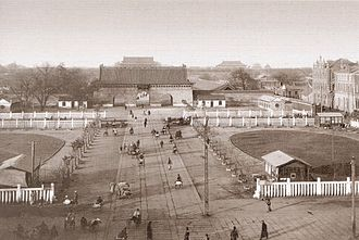 Gate of China, Beijing - The gate viewed from Zhengyang Men. Visible behind the gate (to the north) are Tiananmen Gate and the Forbidden City.