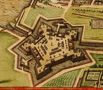 Antwerp Citadel - Detail from the view of Antwerp in Georg Braun and Frans Hogenberg, Civitates orbis terrarum (1572)