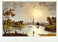 """View of St. Louis from South of Chouteau's Lake, 1840."". Published and Lithographed by J. C. Wild at the Missouri Republican Offic (sic).jpg"