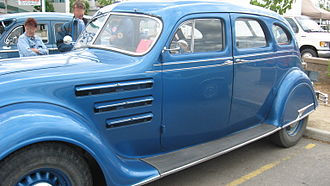 Chrysler Airflow - Side view of a '34 Airflow showing open hood cooling vents.